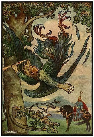 Frank C. Papé - Image: 3 Nightingale the Robber fell from his nest in the old oaks Russian Fairy Book 1916, illustrator Frank C Pape