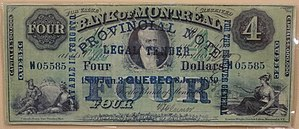 Early Canadian banking system - 4 Dollars, Bank of Montreal, overprinted as provincial note