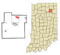 523px-Whitley County Indiana Incorporated and Unincorporated areas Tri-Lakes Highlighted.png