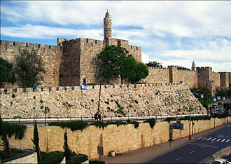 Walls of Jerusalem - The 16th century Walls of Jerusalem, with the Jerusalem Citadel Minaret