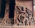 6th century 18-arm Nataraja 9x9 Natya postures in Cave 1, with Nandi, Ganesha and a musician, Badami Hindu cave temple Karnataka 1.jpg