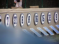 The Retired Numbers section of Monument Park.