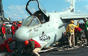 A-7E VA-72 barricade crash on USS Kennedy (CV-67) 1991.JPEG
