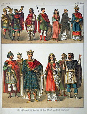 Costume - Costumes of All Nations - Franks A.D. 800 (1882) Examples of a range of costumes suitable for specific individuals at a particular epoch. In later periods, once authentic costume may be revived or copied for theatrical purposes.