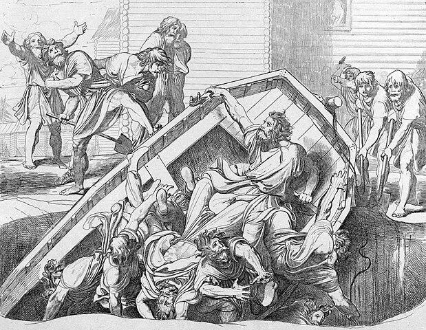 «Мщение Ольги против идолов древлянских». Гравюра Ф.А.Бруни, 1839.
