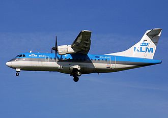 Air Exel - An ATR 42 of KLM exel approaches Maastricht Aachen Airport in 2002.