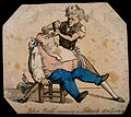 A French barber shaving John bull. Coloured etching. Wellcome V0019690.jpg