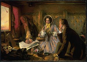Painting shows a first class railway carriage. A young man and young woman talk as an older man sleeps.