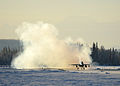 A U.S. Air Force F-16 Fighting Falcon aircraft assigned to the 18th Aggressor Squadron takes off from Eielson Air Force Base in Alaska Feb. 10, 2014, en route to Andersen Air Force Base in Guam to support 140210-F-FT438-008.jpg