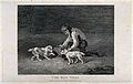 A boy kneeling down opening a rat-trap with two dogs eagerly Wellcome V0022922.jpg