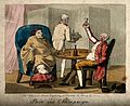A gouty man and his companion drinking. Coloured etching by Wellcome V0010862.jpg