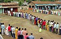 A huge crowd standing in queue to cast their votes during the Assam Assembly Election-2006 at Boonda Polling Station, in Guwahati on April 03, 2006.jpg