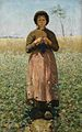 A peasant girl in a field of flowers by David de la Mar (1832-1898).jpg