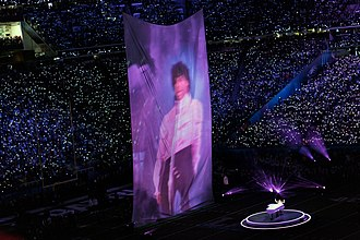 Super Bowl LII halftime show - Timberlake performing alongside a video projection of Prince