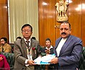 A representative of the delegation of indigenous communities from Sikkim presenting a memorandum to the Minister of State for Development of North Eastern Region (IC), Prime Minister's Office, Personnel.jpg