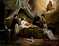 A woman in bed in a sick-room, attended by a physician Wellcome V0017418.jpg