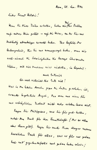Felix Hausdorff - The first page of his farewell letter to Hans Wollstein