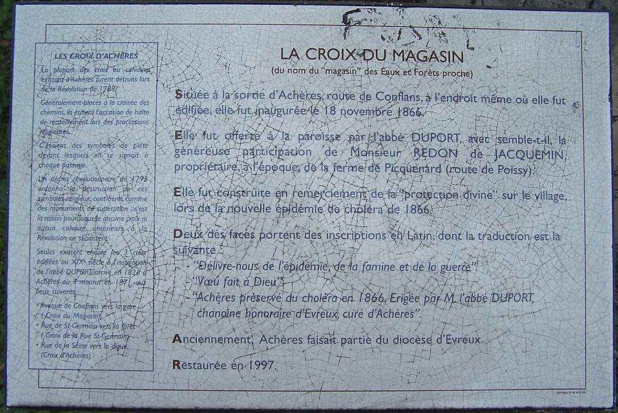 Information Sign about the Warehouse Cross in Achères (Yvelines, France)