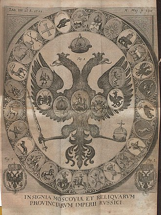 Coat of arms of Russia - Russian coat of arms from Acta Eruditorum, 1708