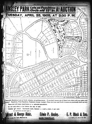 Ansley Park - Ad from the Atlanta Constitution of April 23, 1905, featuring Ansley Park lots for sale