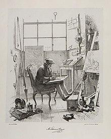 """Adolf Schrödter in seinem Atelier, """"Don Quijote und Sancho Panza"""" malend, Illustration von Wilhelm Camphausen in Schattenseiten der Düsseldorfer Maler, 1845 (Quelle: Wikimedia)"""