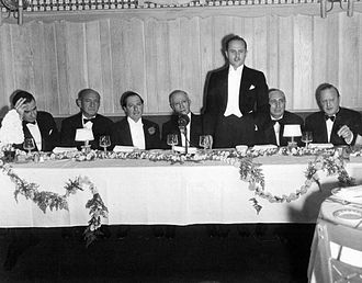 Adolph Zukor - Zukor is honored with a dinner marking his 25 years in the film industry in 1936.  From left: Frank Lloyd, Joseph M. Schenck, George Jessel, Zukor, Darryl F. Zanuck, Louis B. Mayer, and Jesse L. Lasky.