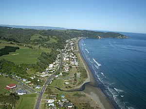 Ohope Beach - Ōhope Beach from the air, looking north