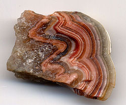 A photograph showing a slice through a stone with the face displaying alternating bands of bright red, bright white and tan