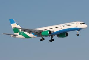 Air Bashkortostan - An Ireland-registered Boeing 757–200 in Air Bashkortostan livery on short final to Domodedovo International Airport in 2007.