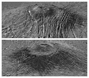 Alba Mons - MOLA exaggerated relief view of Alba Mons central edifice and summit dome viewed from south (top) and north (bottom). Vertical exaggeration is 10x.