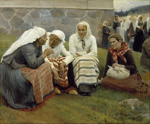 Albert Edelfelt - Women outside the Church at Ruokolahti - Google Art Project
