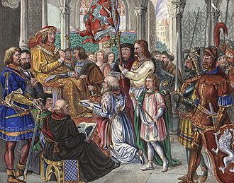 Albert III, Duke of Bavaria - Albert III rejects the Bohemian crown; Painting by J.G.Hiltensberger, Hofgarten in Munich