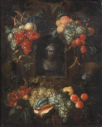 Alexander Coosemans - Image: Alexander Coosemans A sculpted bust in a in a niche surrounded with swags of fruit