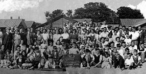 The Derbyshire Miners' Holiday Camp - Miners' families, from the Alfreton area of Derbyshire, holidaying at the Derbyshire Miners' Holiday Camp in 1947.