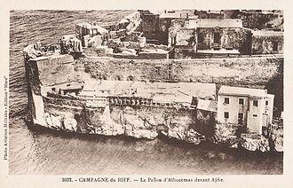 Plazas de soberanía - Aerial view of the Peñón de Alhucemas c. 1925