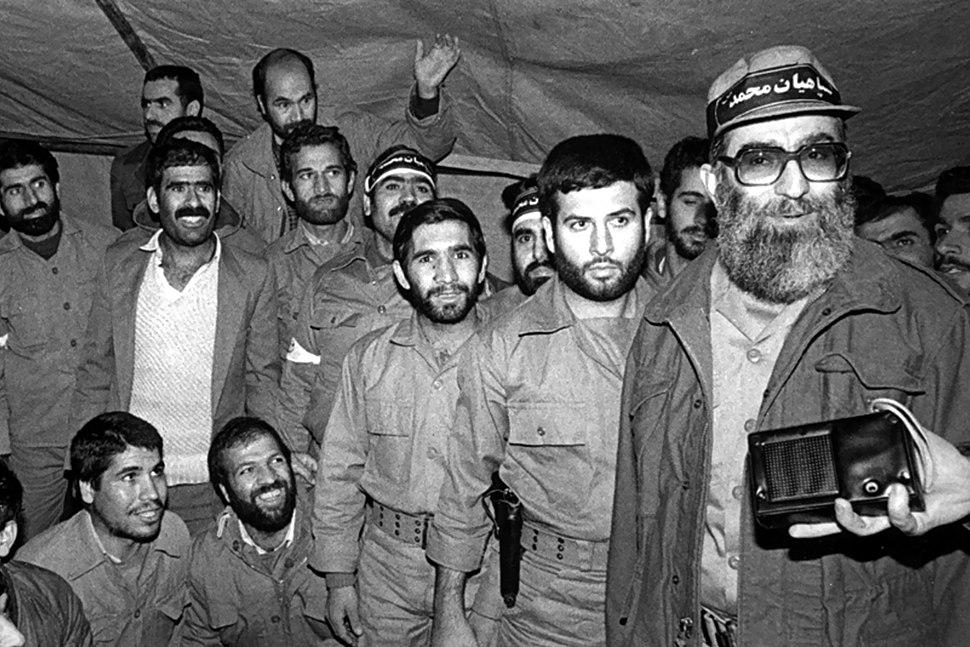 Ali Khamenei in military uniform during Iran-Iraq war