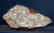 Meteorite Alvord, un'ottaedrite: sono visibili le figure di Widmanstätten