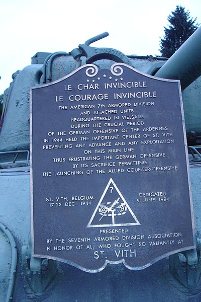A memorial to the 7th  Armored Division and the Battle of the Bulge in Vielsalm, Belgium.