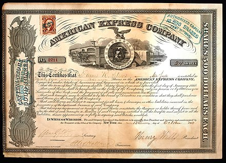 Share of the American Express Company, issued 13. October 1865; signed by William G. Fargo as Secretary and Henry Wells as President American Express Company 1865.JPG