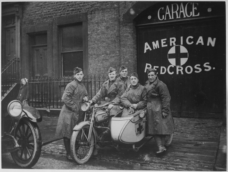 """File:American Red Cross in Great Britain. One unit of the famous """"Flying Squadron"""" priding themselves on being able to get... - NARA - 533468.tif"""