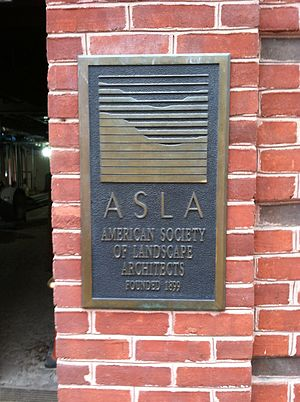 American Society of Landscape Architects - The American Society of Landscape Architects (ASLA) plaque on headquarters building in Washington, DC. Organization founded 1899.