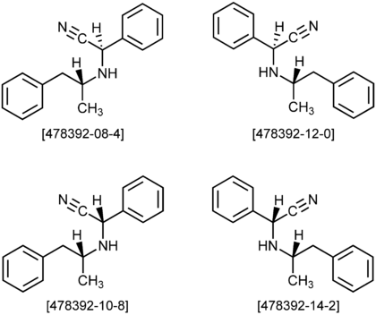 Amphetaminil Structural Formulae of four Stereoisomers.png