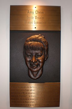 Chow's plaque at the San Jose Sports Hall of Fame Amy Chow plaque, SJ Sports Hall of Fame.JPG