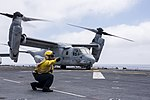 An MV-22B Osprey takes off from USS Wasp. (27627367254).jpg
