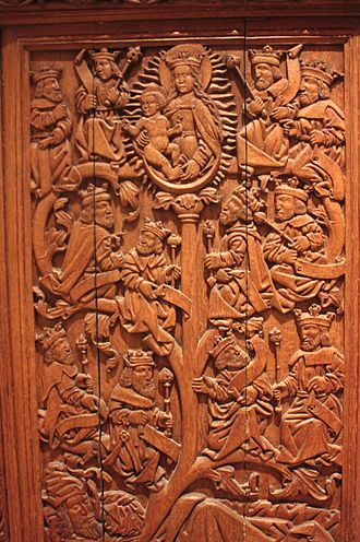 Tree of Jesse - A 17th-century oak carving of the Tree of Jesse from St Andrews Castle, Royal Scottish Museum