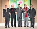 Anand Sharma with his counterparts from SAARC countries, at the SAARC Ministerial meeting, on the sidelines of 8th Ministerial Conference of WTO, at Geneva on December 14, 2011.jpg