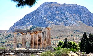 Ancient Corinth - Apollo Temple has been built in Doric style on the ruins of earlier temple, being a good example of peripteral temple, supported by 38 columns, only 7 of which are still in place.