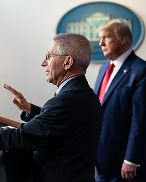 Anthony Fauci and Donald Trump in March 31, 2020 face detail, from- White House Coronavirus Update Briefing (49723232743) (cropped).jpg