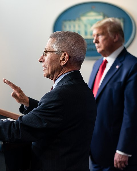 Fauci and Trump last March