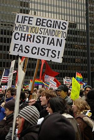 Anti-Christian sign at a gay rights protest at...